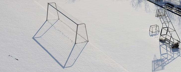 skolan, vinter, Lekplats, snö, skugga