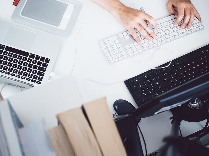 osoba, písanie, s káblom, Magic, klávesnica, MacBook, laptop
