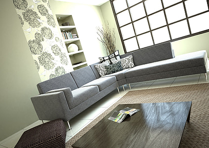disseny, 3D, sala, sofà, Habitació interior, Apartament, l'interior