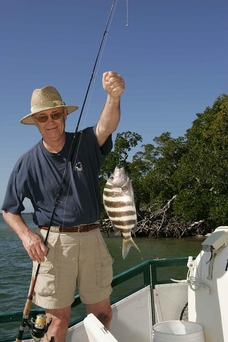 ryby, jeho, rybár, šťastný, Poľovníctvo, Rybolov, Šport