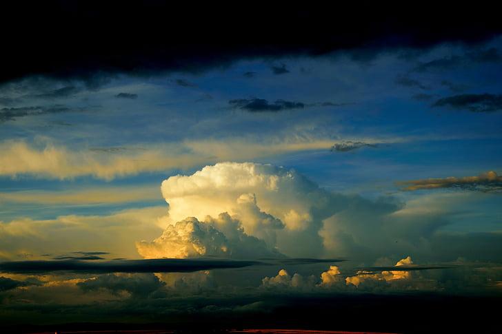 núvols, mística, cel, fons