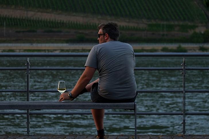 mees, Holiday, vee, turist, istuda, abendstimmung, ülejäänud