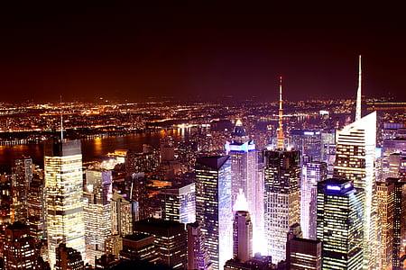 Nova york, horitzó, nit, exposició prolongada, silueta de Nova York, Manhattan, nou