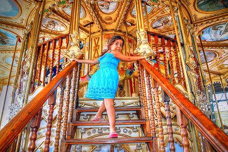 carousel, children, girl, play, children's games, fun, child