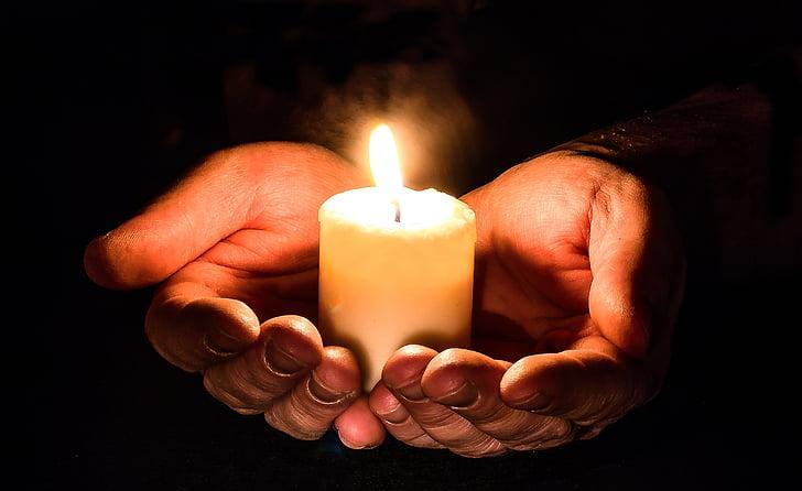 mans, obrir, Espelma, llum de les espelmes, llum, pregària, pregar