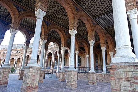 plaça de espania, columnes, arcs, Palau, Sevilla, històric, famós