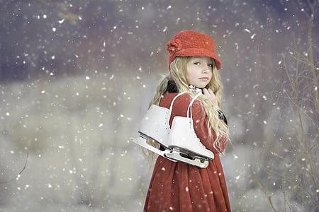 Drsalke, pozimi, drsanje, drsanje, sneg, dekle, ženski