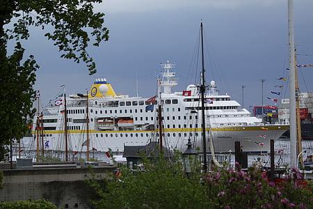 Hamburg, Elbe, bağlantı noktası, Almanya, tekneler, su, gemi