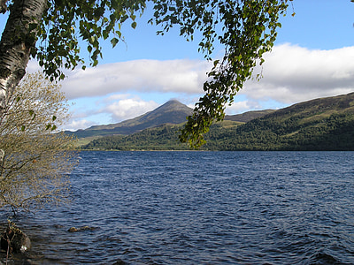 scotland, landscape, mountain, trees, scenic, highland, loch
