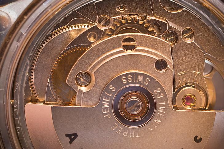 moviment, mecànica, Rellotge automàtic, macro, engranatges, rellotge de canell, metall