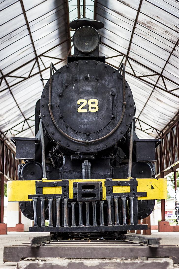 기차, 연기, 오래 된 기차 역, 역, 연기 훈련, castanhal