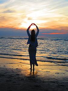 stranden, daggry, skumring, jente, hav, sand, sjøen