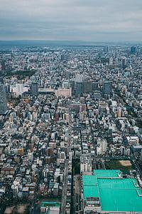 bird's eye view, buildings, city, cityscape, skyscrapers, urban, urban Scene