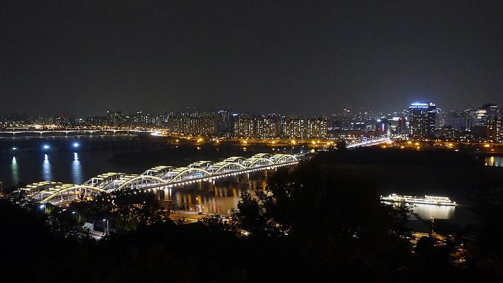 Seül, vista nocturna, riu han, hangang pont, Pont, fotografia nocturna, paisatge de nit