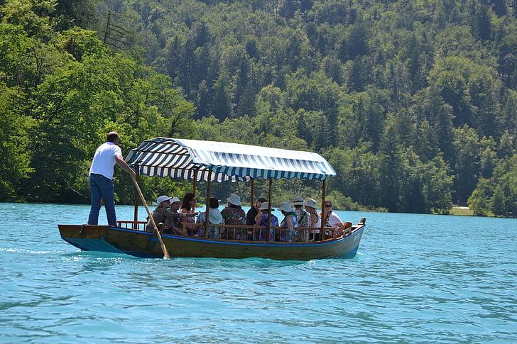 august, bled, boats, ladder, blue water, tourist, slovenia