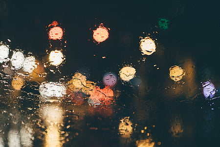assortit, color, llums, mullat, plovent, gotes de pluja, bokeh