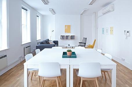 blanc, vivint, sala, mobles, conjunt, l'interior, cadira