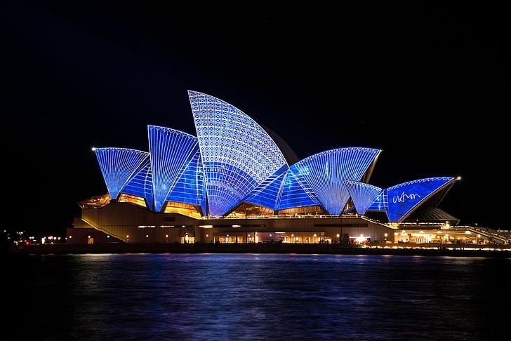 sydney, opera, house, australia, sydney harbour, vivid, light show
