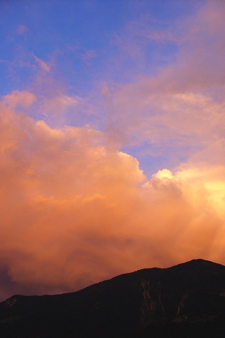 cel, endavant, núvols, posta de sol, cel de nit, estat d'ànim de temps, ambient