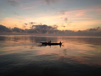 båt, sjön, havet, vatten, lugn, reflektioner, solnedgång