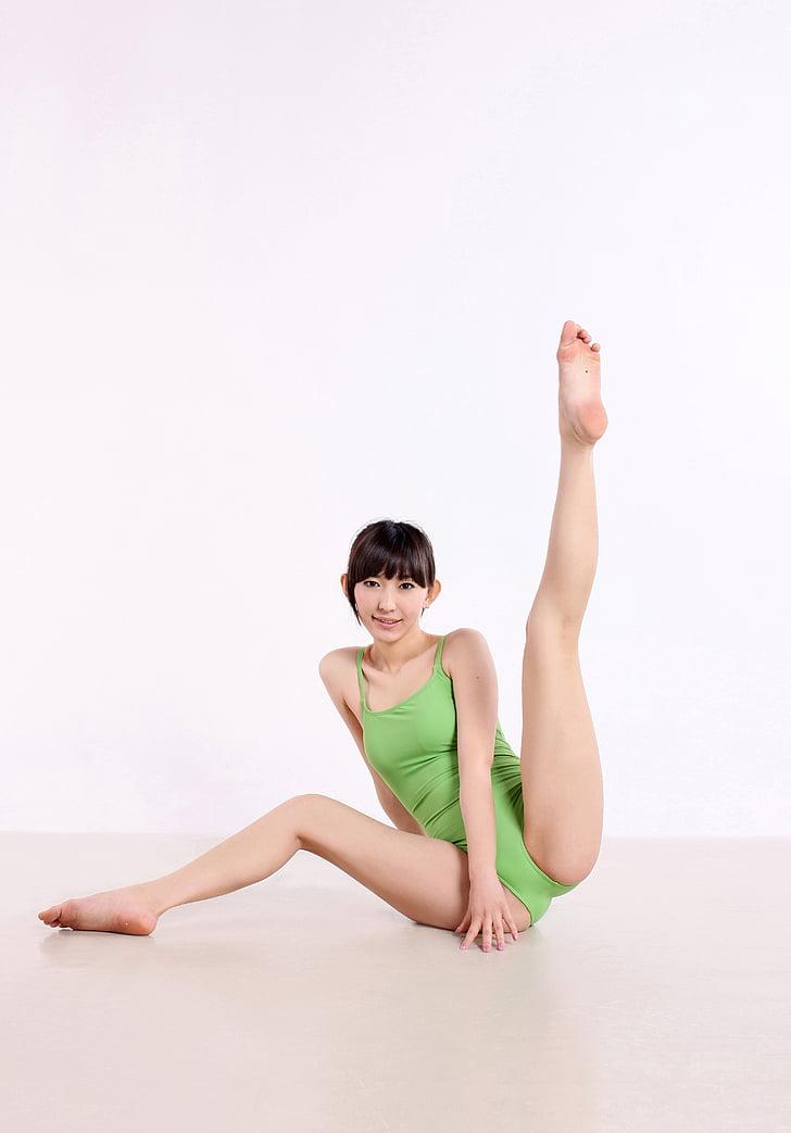 Kína, jóga, tánc, súlyok, női, testtartás