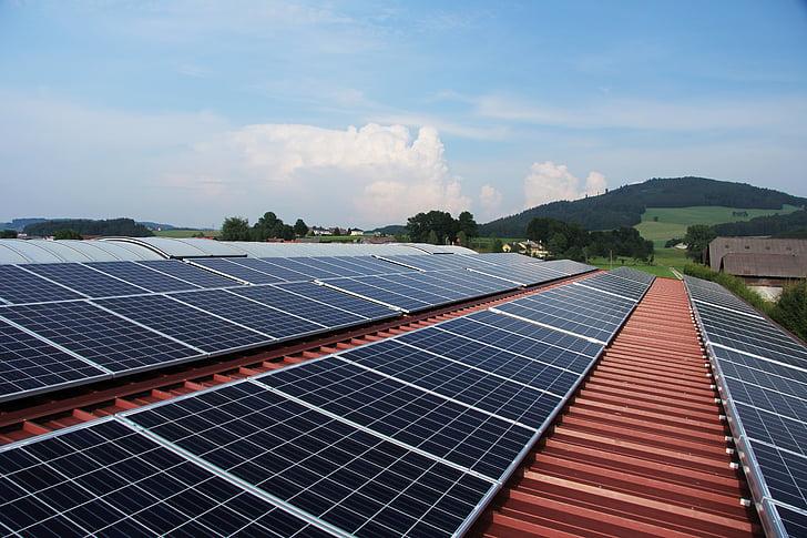 zonne-energie, zonnepanelen, fotovoltaïsche zonne-energie, panelen, zon, hemel, technologie
