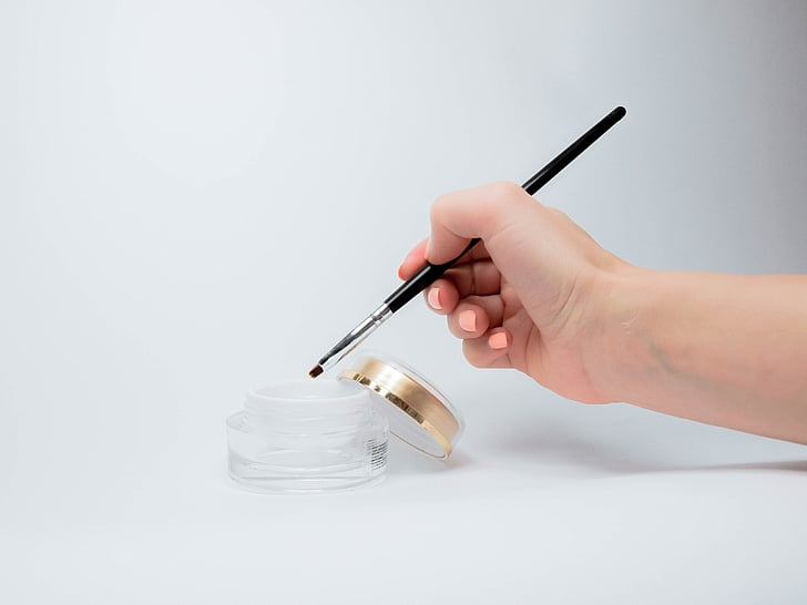 gel, manikyr, pensel, mal, hånd, pedikyr, skjønnhet