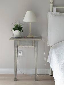 bedside, nightstand, lamp, bedroom, decor, indoors, domestic Room