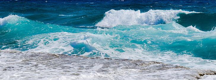 bølge, Smashing, skum, spray, sjøen, natur, vind