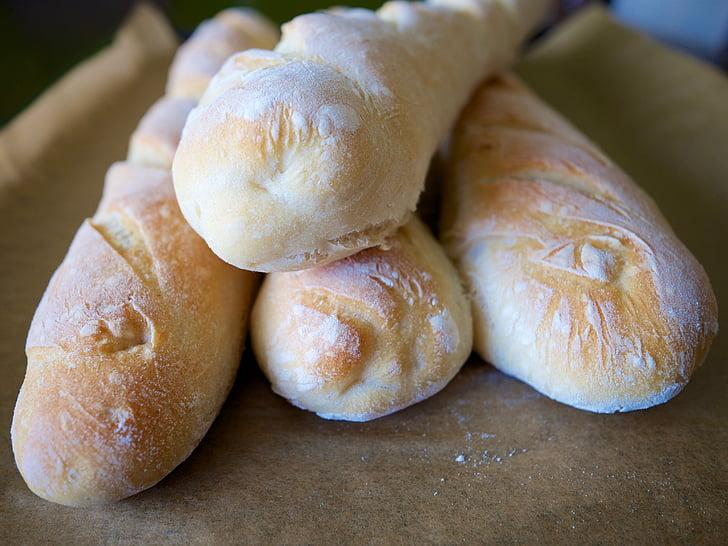 leib, baguette, süüa, toidu, küpsetised, maitsev, sai