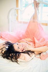 woman, pink, dress, lying, white, bed, girl