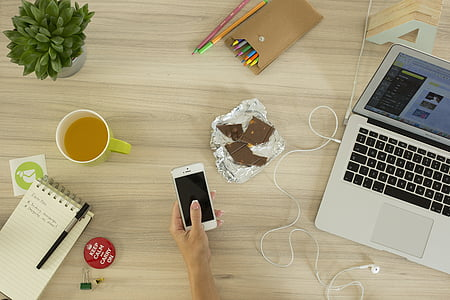 computer, phone, workspace, desk, notebook, smart phone, mobile phone