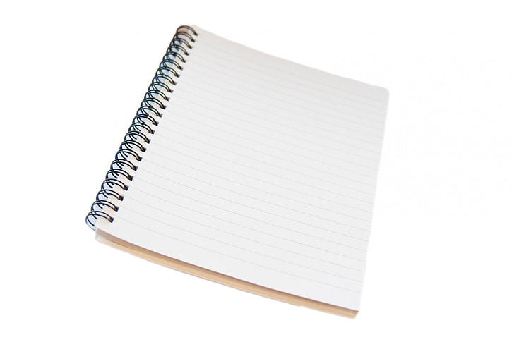 Notisblokk, notatblokk, spiral, foret, styrt, isolert, hvit