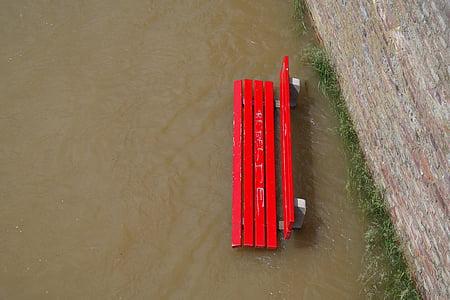 marée haute, des inondations, Banc de parc, rouge, Banque, dans l'eau, inondées