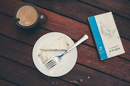 cafè, pastís, postres, aliments, forquilla, placa, Copa