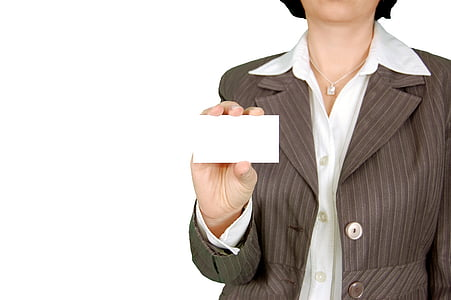 woman, brown, blazer, holding, white, card, business