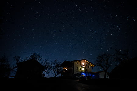 звездното небе, нощ, звезда, нощното небе, продължително излагане, тъмно, звездна светлина
