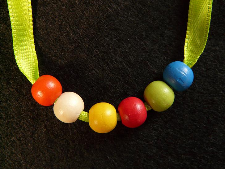 inci kolye, boncuk, ahşap boncuk, ahşap, renkli, Renk