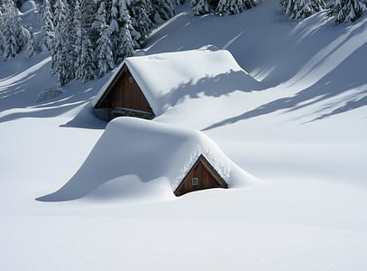Alm, Friuli, sneh, sneženie, Lussari, zimné, chladom