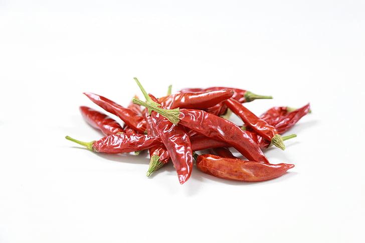 Crveni, začinski, sušenje, začin, hrana, čili paprika, topline - temperatura