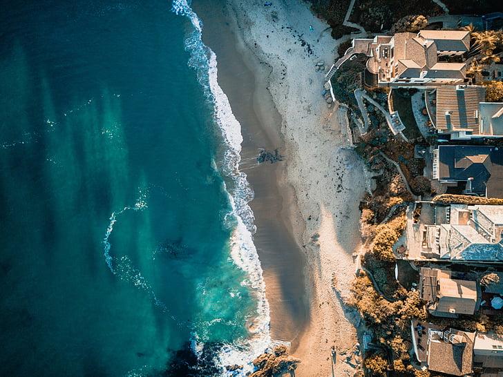 sea, ocean, blue, water, waves, nature, rocks