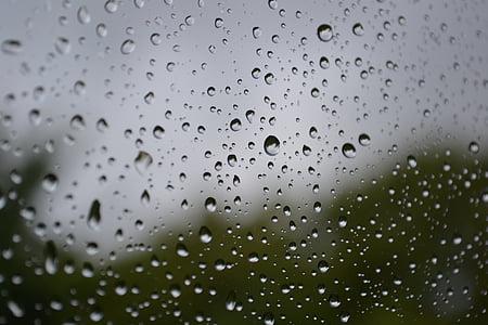 rain, raindrops, drops, rhombus, window, drops of water, lozenge after rain