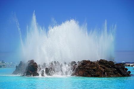 ชายหาด, สีฟ้า, โอเชี่ยน, หิน, ทะเล, สาด, น้ำ