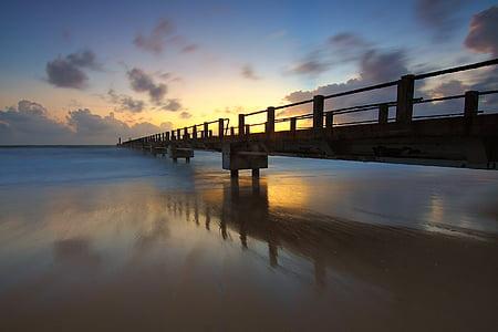 embarcadero, salida del sol, paisaje marino, puesta de sol, cielo, Puente - hombre hecho estructura, nube - cielo
