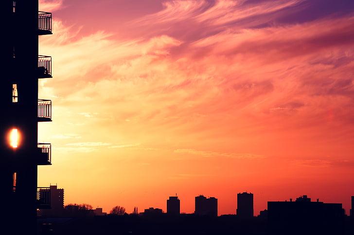 arquitectura, edifici, infraestructura, posta de sol, silueta, horitzó, ciutat