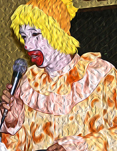 clown, yellow, microphone