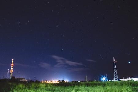nit, ciutat, ciutat a la nit, nit ciutat, horitzó, arquitectura, cel