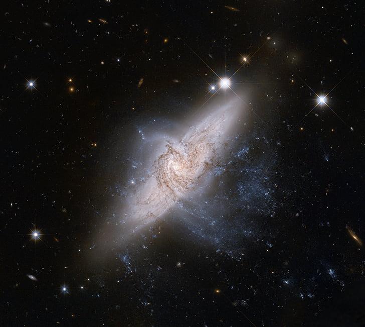 støv, galakser, Hubble visning, NGC 3314, overlappende galakser, plass, romteleskopet