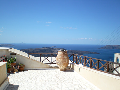 Santorini, ljeto, Grčka, pogled na more, Grčki otok, naselje, Oia