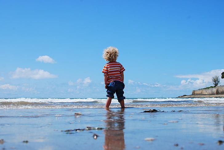 child, kid, little, beach, water, waves, enjoyment